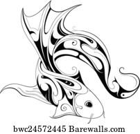 art print of tattoo symbol of marlin fish barewalls posters Nineteenth Century Fishing art print poster koi fish tattoo