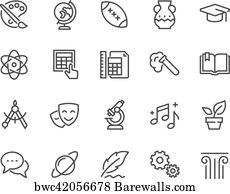 art print of line school subjects icons barewalls posters prints