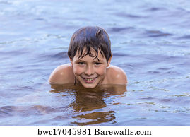 Art Print of Little boy swimming in a lake  006b855b5af1