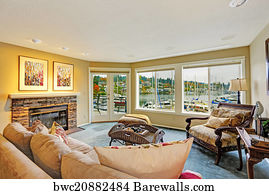 Gig Harbor Art Print Poster   Living Room With Water Front View