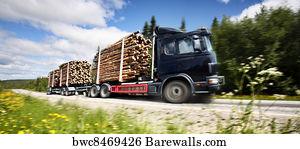 CANVAS Logging Trucks Art print POSTER