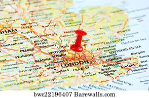 A Map Of London England.23 Push Pin Pointing At London England On A Map Posters And Art