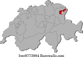 Art Print of Map of canton Appenzell Ausserrhode Barewalls Posters