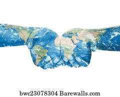 770 world in our hands posters and art prints barewalls world in our hands art print poster map painted on handsncept of having gumiabroncs Images