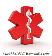Red Caduceus Medical Symbol