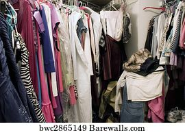 Cluttered Closet Art Print Poster   Messy Unorganized Closet Full Of  Hanging Clothes