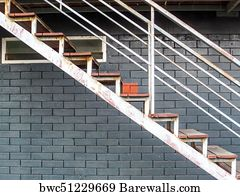 Emergency Stair Art Print Poster   Metal Stair Setup To Fire Exit Or  Emergency Case