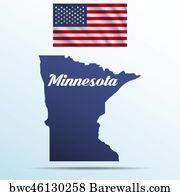 Minnesota Outline Vector Art Print Poster   Minnesota State With Shadow  With Usa Waving Flag