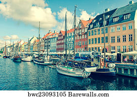 Nyhavn District Harbour Colouful  Denmark Panorama Canvas Wall Art Home Decor