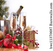 bubble border art print poster new year celebrationchampagne