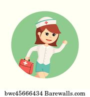 Exigency Art Print Poster   Nurse Running Carrying Medical Briefcase In  Circle Background