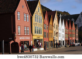 Fish Market Bergen Norway Old Vintage Picture Famous View Print Poster Photo