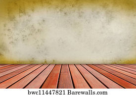 Earth Wall Art Print Poster   Old Cement Wall And Wood Terrace Gr
