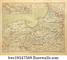 east germany art print poster old map of prussia