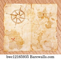Old Map Scroll Art Print Poster