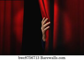 Open Red Theater Curtain Art Print Poster   Opening Red Curtain
