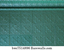 Tin Ceiling Art Print Poster Painted Tiles