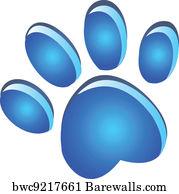 Blue Dog Footprint Logo Art Print Poster