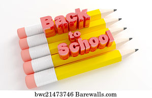 welcome back sign art print poster pencils with text back to school