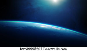 776 sunrise over planet earth in space posters and art prints