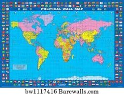 Map Of World Flags.Art Print Of Political Map World Flags Barewalls Posters