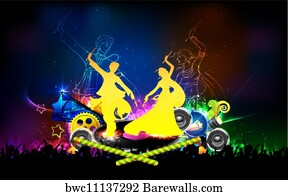 Couple Playing Dandiya In Disco Garba Night Poster For