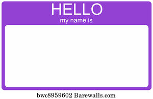 Art Print Poster Purple Hello Nametag