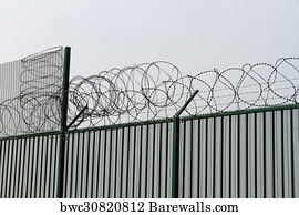 Art Print of Razor wire on top of green fence guarding French ferry ...