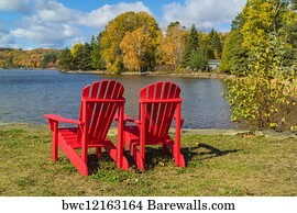 Wood Adirondack Chairs Art Print Poster - Red Adirondack Chairs On A Lake Shore & 529 Wood adirondack chairs Posters and Art Prints | Barewalls