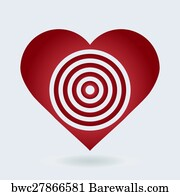 Art print of bullseye heart barewalls posters prints bwc20724032 art print poster red and white heart target icon love aim concept altavistaventures Images