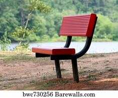 Old Red Garden Bench Art Print Poster   Red Bench At Lake