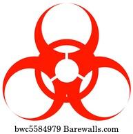 art print of red biohazard warning sign barewalls posters prints