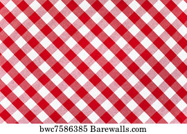 Exceptionnel Red And White Gingham Checkered Tablecloth Background Art Print Poster    Red Checked Fabric Tablecloth