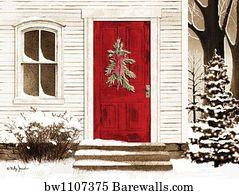 Barn Door Art Print Poster   Red Door