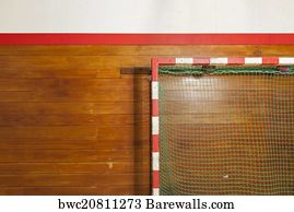Indoor Soccer Goal Art Print Poster   Retro Indoor Gymnasium Goal