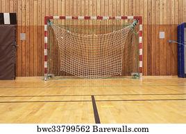 Indoor Soccer Goal Art Print Poster   Retro Indoor Gymnasium
