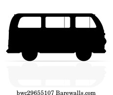 Retro Minivan Silhouette Ilration