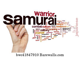 japanese samurai mask art print poster samurai word cloud concept