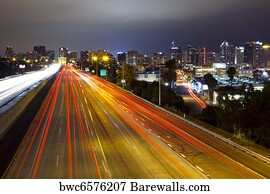 city by night i art print poster san diego skyline freeway