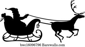 art print of santa cat sleigh barewalls posters prints bwc7888358