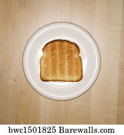 art print of slice of toast on plate barewalls posters prints