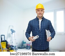 30196 building maintenance posters and art prints barewalls building maintenance art print poster smiling male builder in helmet with blueprint malvernweather Choice Image