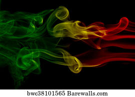 rasta art print poster smoke background reggae colors green yellow red colored in