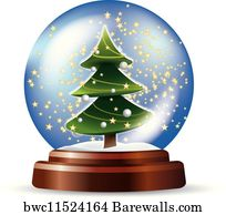art print of snowglobe with christmas tree barewalls posters