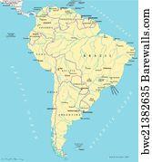 Art Print Of South America Political Map Barewalls Posters