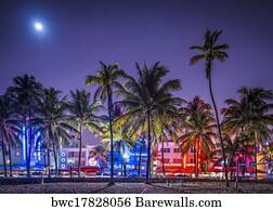 Ocean Drive Art Print Poster South Beach Miami