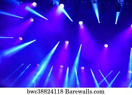 An Empty Stage With Lights Art Print Poster