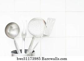Kitchenwares Art Print Poster   Steel Kitchenwares On White Tile Wall