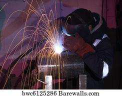 Blue Lit Mig Welder Close Art Print Barewalls Posters Prints Bwc6125284