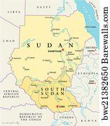 Political Map Of South Sudan.Sudan And South Sudan Political Map Art Print Barewalls Posters